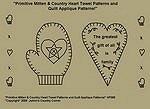 "Primitive Stitchery Pattern ""Primitive Mitten & Country Heart Towel Patterns/ Quilt Applique Patterns!"""