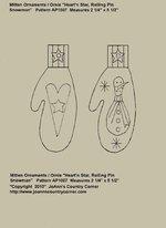 "Primitive Stitchery Pattern Mitten Ornament/Ornie ""Rolling Pin Snowman, Heart'n Star"" ap1007"
