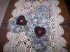 Primitive  2 Needle Knitted Mittens with Heart Appliques, Buttons Design Pattern!
