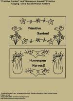 "Primitive Stitchery Patterns, ""Primitive Garden!"" and ""Homespun Harvest!"" Hanging / Ornie Sachet Pillows Patterns"