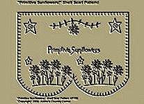 "Primitive Stitchery Pattern, "" Primitive Sunflowers!"" Shelf Scarf Pattern!"