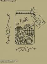 "Primitive Stitchery Pattern, ""Rag Balls Canning Jar with Primitive Tag!"" Pattern"