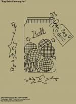 "Primitive Stitchery E-Pattern, ""Rag Ball Canning Jar with Primitive Tag,""Rag Balls""."