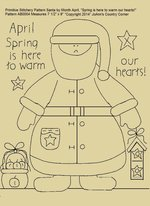 "Primitive Stitchery E-Pattern Santa by Month April ""Spring is here to warm our hearts!"""