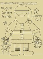 "Primitive Stitchery Pattern Santa by Month August ""Summer friends, summer fun!"""
