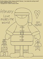 "Primitive Stitchery Pattern Santa by Month February, ""Love makes the world go round!"""