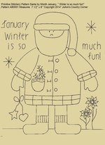 "Primitive Stitchery Pattern Santa by Month January ""Winter is so much fun!"""