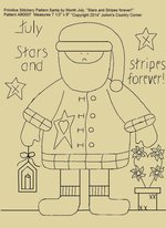 "Primitive Stitchery E-Pattern Santa by Month July, ""Stars and Stripes forever!"""