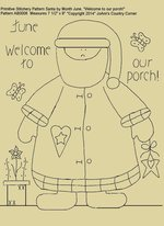 "Primitive Stitchery E-Pattern Santa by Month June, ""Welcome to our porch!"""