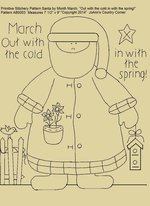 "Primitive Stitchery E-Pattern Santa by Month March ""Out with the cold in with the spring!"""