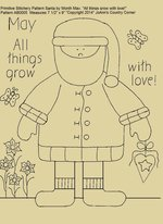 "Primitive Stitchery E-Pattern Santa by Month May ""All things grow with love!"""