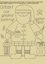 "Primitive Stitchery Pattern Santa by Month October, ""Our greatest blessings gather here!"""
