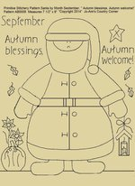 "Primitive Stitchery Pattern Santa by Month September ""Autumn blessings, Autumn welcome!"""