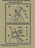 "Primitive Stitchery Patterns ""Santa Ho, Ho, Ho and Jack Frost Snowman!"" Hand Towel Patterns!"