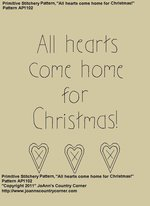 "Primitive Stitchery Pattern, ""All hearts come home for Christmas!"""