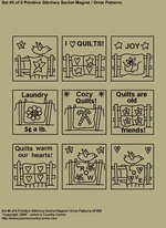 "Primitive Stitchery Patterns, ""Set 5 of 9 Primitive Stitchery Sachet Ornie / Magnet Patterns"""