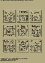 """Primitive Stitchery Patterns, """"Set 5 of 9 Primitive Stitchery Sachet Ornie / Magnet Patterns"""""""