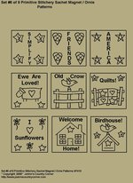 "Primitive Stitchery Pattern, ""Set 6 of 9 Primitive Stitchery Sachet Ornie / Magnet Patterns"""
