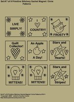 "Primitive Stitchery E-Pattern, ""Set 7 of 9 Primitive Stitchery Sachets Ornies/Magnets"""