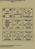 """Primitive Stitchery E-Pattern, """"Set 7 of 9 Primitive Stitchery Sachets Ornies/Magnets"""""""