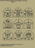 "Set 8 of 9 Primitive Stitchery Sachet Ornie / Magnet Tag Patterns"""