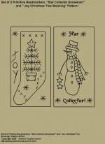 "Primitive Stitchery Pattern, ""Set of 2 Primitive Bookmarkers, ""Star Collector Snowman"" and ""Joy Christmas Tree Stocking!"" Patterns"