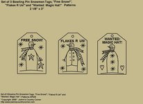 "Primitive Stitchery Pattern, ""Set of 3 Bowling Pin Snowmen Tags with Sayings!"""