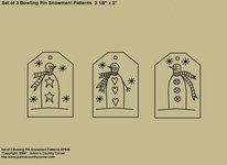 "Primitive Stitchery Pattern, ""Set of 3 Bowling Pin Snowmen Tag Patterns!"""