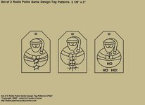 "Primitive Stitichery Pattern, ""Set of 3 Rollie Pollie Santa Design ""Ho,Ho, Ho"" Tags"""