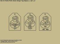 """Primitive Stitichery Pattern, """"Set of 3 Rollie Pollie Santa Design """"Ho,Ho, Ho"""" Tags"""""""