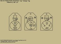 "Primitive Stitchery Patterns, ""Rollie Pollie Snowmen Tags with ""Joy""! Patterns"