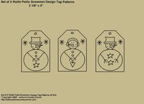 "Primitive Stitchery Pattern, ""Rollie Pollie Snowmen Tags!"" Patterns"