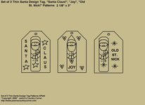 "Primitive Stitchery Pattern, ""Set of 3 Thin Santa Design Tags with Sayings!"