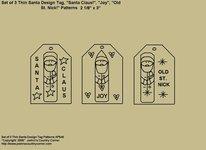 "Primitive Stitchery Pattern, ""Set of 3 Thin Santa Design Tags with Sayings!"