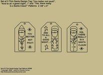 "Primitive Stitchery Pattern, ""Set of 3 Thin Santa Design Tags with Sayings!"""