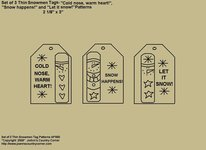 "Primitive Stitchery E-Pattern, ""Set of 3 Thin Snowmen Designs and Sayings Tags!"
