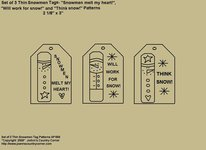 """Primitive Stitchery Pattern, """"Set of 3 Thin Snowmen Design Tags with Sayings!"""