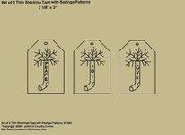 "Primitive Stitchery Pattern, ""Thin Stocking Tags with Sayings, Peace, Joy, Love! Patterns"