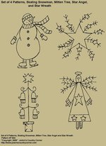 "Primitive Stitchery E-Pattern, ""Skating Snowman, Mitten Tree, Star Angel and Star Wreath!"