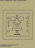 "Primitive Stitchery Pattern, ""Simplify Angel!"" Hanger / Candle Mat Pattern!"