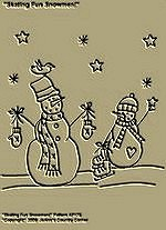 "Primitive Stitchery Pattern, ""Skating Fun Snowmen!"""