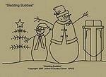 "Primitive Stitchery Pattern ""Sledding Buddies""!"