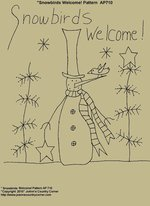 "Primitive Stitchery Pattern, ""Snowbirds Welcome!"" Pattern"