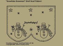 "Primitive Stitchery Pattern, ""Snowflake Snowman!"" Shelf Scarf Pattern!"