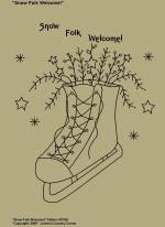"Primitive Stitchery Pattern, ""Snow Folk Welcome!"""