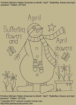 "Primitive Stitchery Pattern, Snowman by Month April., ""Butterflies, flowers and April showers!"""