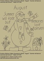 "Primitive Stitchery Pattern Snowman by Month, August ""Summer will fade but memories last forever!"""