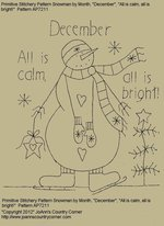 "Primitive Stitchery Pattern Snowman by Month, December ""All is calm, all is bright!"""