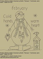 "Primitive Stitchery Pattern, Snowman by Month February "" Cold hands, warm heart!"""