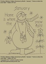 "Primitive Stitchery Pattern,Snowman By Month January, ""Home is where the snow falls!"""